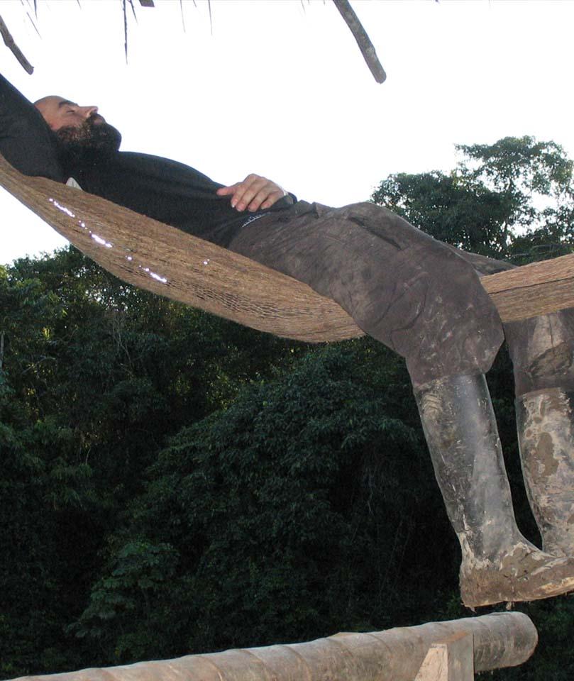 Volunteer resting, Otobo`s Amazon Safari, El Monte Sustainable Lodge